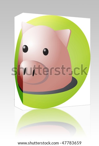Software package box Cute cartoon illustration of a pig head