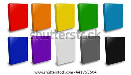 Software Package Box 3D rendering. It is three-dimensional box on white background.  - stock photo