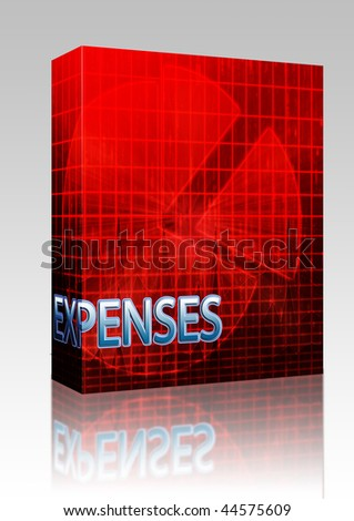 Software package box Illustration of expenses  budgeting finance and business pie chart - stock photo