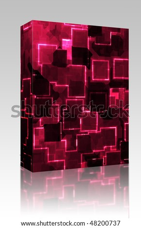 Software package box Square glowing abstract background light pattern illustration