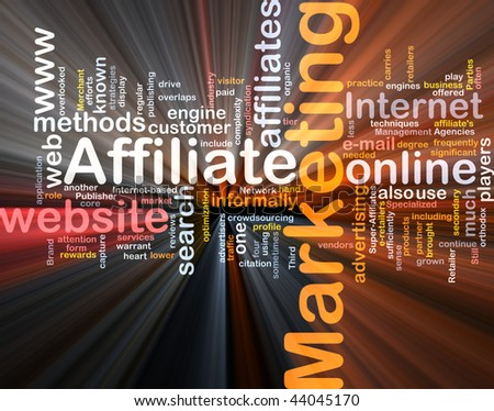 Software package box Word cloud concept illustration of affiliate marketing - stock photo