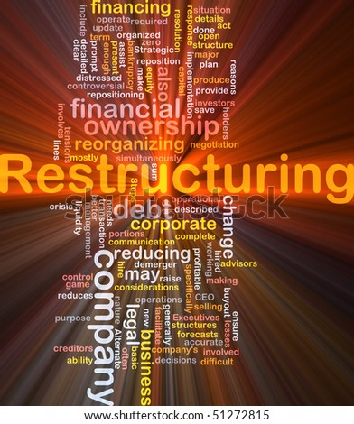 Software package box Word cloud concept illustration of company restructuring - stock photo
