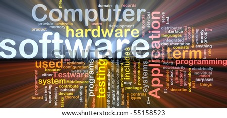 Software package box Word cloud concept illustration of computer software - stock photo