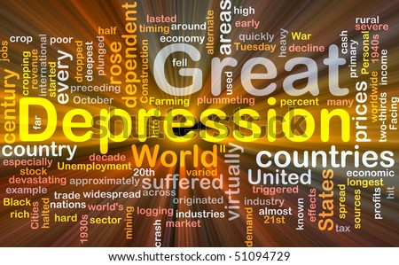 Software package box Word cloud concept illustration of Great Depression - stock photo