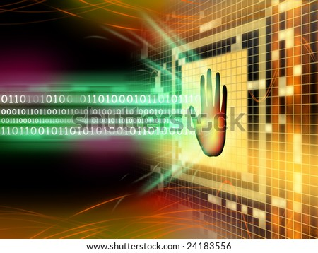Software protection blocking a binary code stream. Digital illustration.