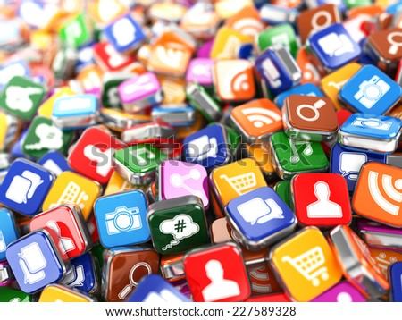 Software. Smartphone or mobile phone app icons background. 3d - stock photo