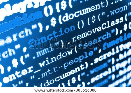 Software source code. Computer script.  Programming code.  Web site codes on computer monitor. Writing program code on computer. (Code is my own property there is no risk of copyright violations)
