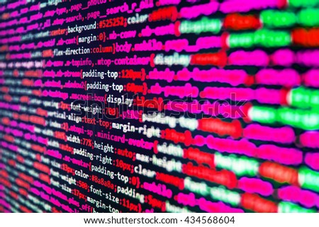 Software source code. Developer working on websites codes in office. Programmer developer screen. Programming code on computer screen. Abstract screen of software.   - stock photo
