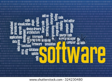 software word cloud on zero one binary background - computer screen texture - stock photo