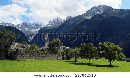 Soglio is a former municipality in the district of Maloja in the Swiss canton of Graubunden close to Italy. It lies on a ledge on the nothern side of the Val Bregaglia (Bergell in German).