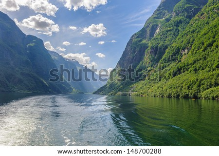 Sognefjord, the largest fjord in Norway. It stretches 205 kilometres - stock photo