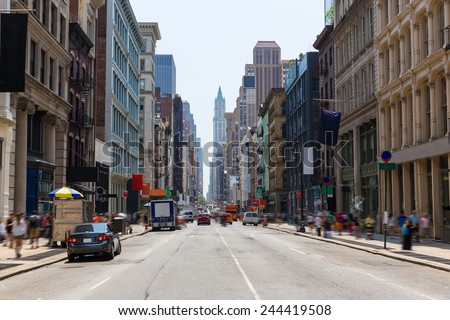 Soho buildings facade in Manhattan New York City NYC USA - stock photo