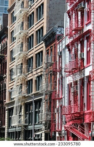 SoHo in New York City, United States - old residential buildings. - stock photo