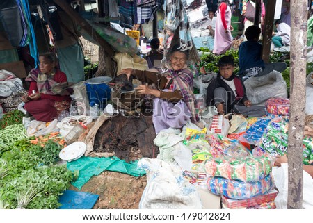 SOHRA CHERRAPUNJI, MEGHALAYA, INDIA - CIRCA 2010 - Busy market day with farmers selling produce and other stuff at Sohra / Cherrapunjee in North east India
