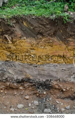 Soil beneath the asphalt - stock photo