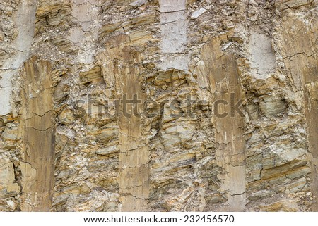 Soil cross section after working excavator, dirt background - stock photo