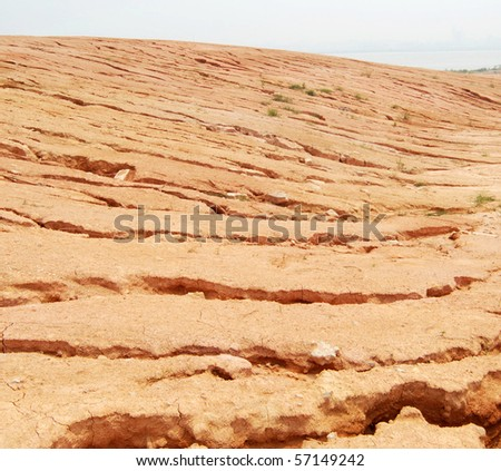 Soil erosion happened after rains - stock photo