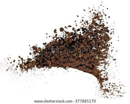 Soil explosion, close up - stock photo