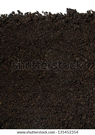 soil for planting on a white background - stock photo