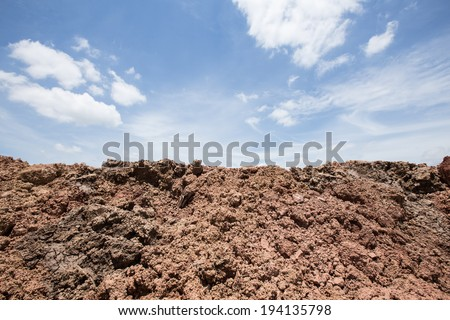 soil ground for farmer with sky background - stock photo