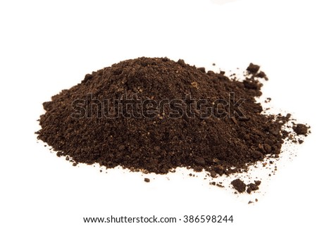 Soil heap on white background