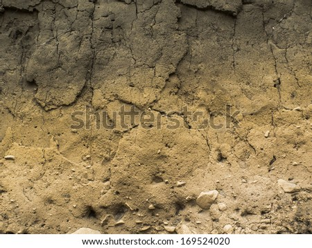 Soil layers showing the diferent colours of the earth soils. Cracked, texture. Nobody. - stock photo