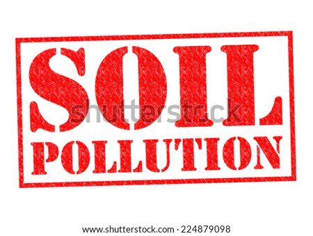 SOIL POLLUTION red Rubber Stamp over a white background. - stock photo