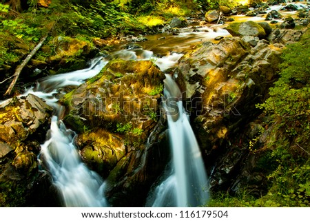 Sol duc Waterfall, Olympic National Park, Washington, WA, USA - stock photo
