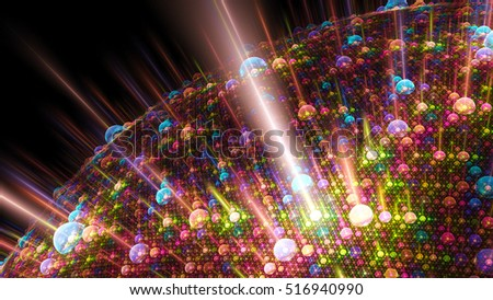 Solar activity bubbles planet. 3D surreal illustration. Sacred geometry. Mysterious psychedelic relaxation pattern. Fractal abstract texture. Digital artwork graphic astrology magic