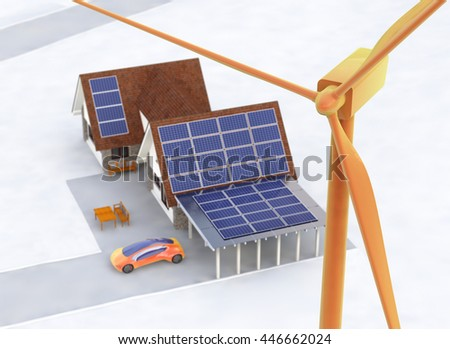 Solar an Wind Power House 3d concept, Solar Panels With Lens Flare, Renewable Energy House, Wind Turbine, House With Alternative Energy Sourses, Solar Panels On a Roof - 3D Rendering - stock photo