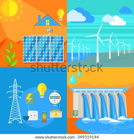 Solar and hydro electricity windy. Water and sun, solar panels, solar energy, solar power, energy and solar system, solar house, air and wind blowing, wind turbine, water power. Raster version - stock photo