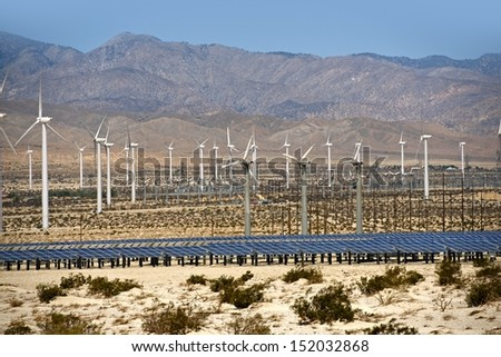 Solar and Wind Energy Plantation in Southern California, USA. Alternative Energy Sources Photo Collection. - stock photo