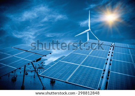 Solar and wind power - stock photo