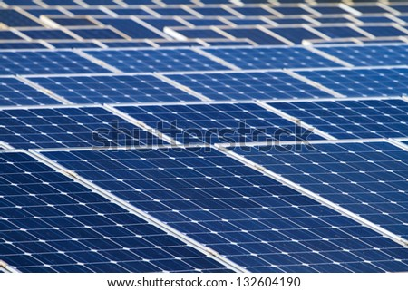 Solar batteries background - stock photo