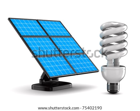 solar battery and bulb on white background. Isolated 3d image - stock photo