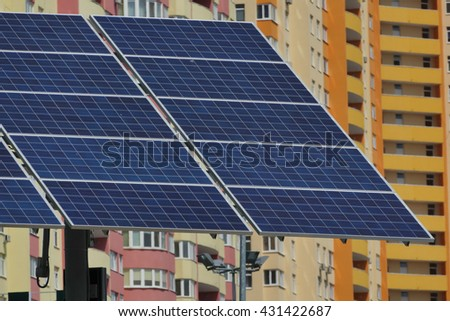 Solar battery installed in the big city