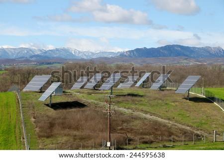 Solar battery panel in the rural landscape, Grevena, Greece - stock photo