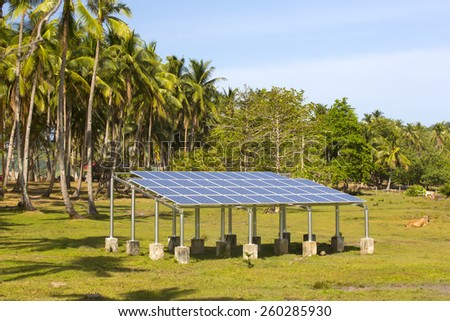 solar battery panel on the nature of the jungle - stock photo
