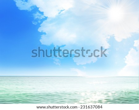 solar beach on background celestial landscape - stock photo