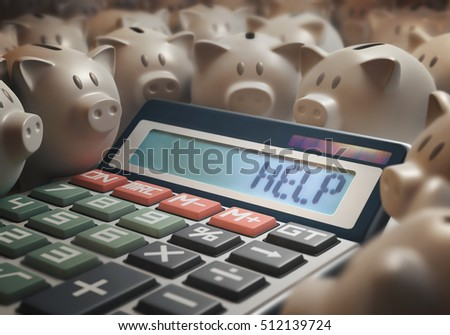 "Solar calculator amid several piggy banks showing on the digital display the word ""HELP"". 3D illustration with several concepts: Help finances, Help business, Help money, Help bank, Help Savings, etc."
