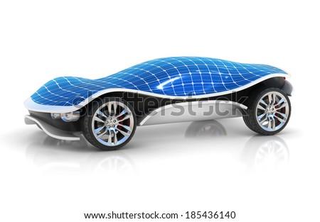 solar car 3d concept - stock photo