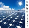 solar cell array against the sun - stock photo