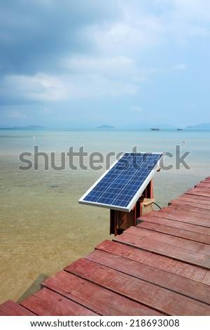 solar cell battery near sea - stock photo