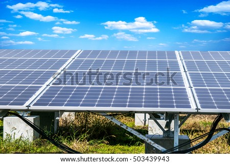Solar Cell  blue sky Background