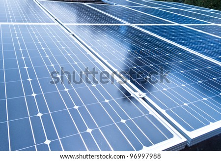 Solar cell closeup - stock photo