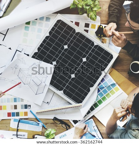 Solar Cell Energy Environmental Power Generator Concept - stock photo