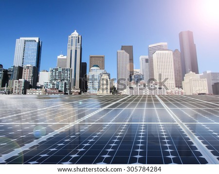 solar cell energy grid technology in city  background - stock photo