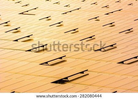 solar cell  energy of the sun with sunset - stock photo
