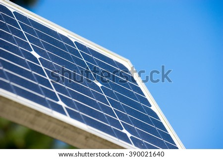 Solar cell panel, Ecology green energy - stock photo