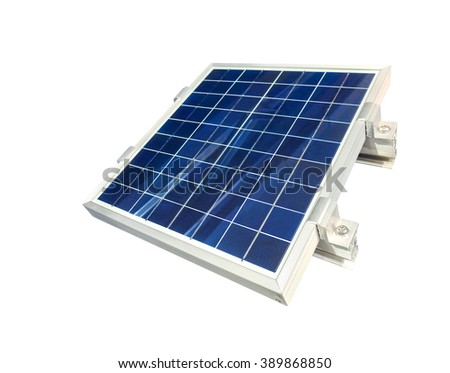 Solar cell panel isolated on white background, Clipping path included.